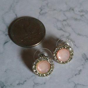 Pink faux stone stud Earrings